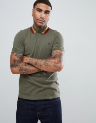 Fred Perry bold tipped pique polo in light khaki - Green