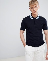 Fred Perry bold tipped pique polo in navy - Navy