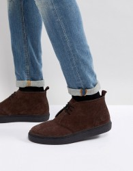 Fred Perry Hawley Suede Mid Shoes In Dark Brown - Brown
