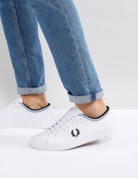 Fred Perry Kendrick Tipped Cuff Leather Trainers In White - White