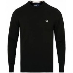 Fred Perry Merino Wool Crew Neck Pullover Black