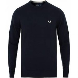 Fred Perry Merino Wool Crew Neck Pullover Dark Carbon
