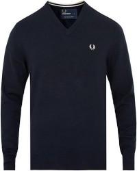 Fred Perry Merino Wool V-Neck Pullover Dark Carbon men S Blå