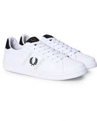 Fred Perry Park Side Leather Sneaker White/Navy men 41 Hvid