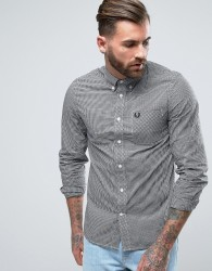 Fred Perry Shirt In Slim Fit Gingham With Long Sleeves Black - Black