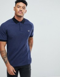 Fred Perry Slim Fit Colour Block Pique Polo Shirt In Navy - Navy
