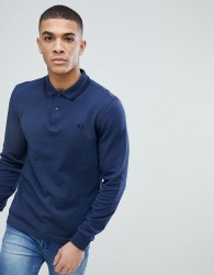 Fred Perry Slim Fit Long Sleeve Tipped Polo In Blue - Blue
