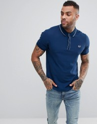 Fred Perry Slim Fit Slim Fit Tipped Placket Pique Polo Shirt In Blue - Blue