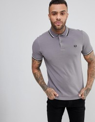 Fred Perry Slim Fit Slim Fit Twin Tipped Polo Shirt In Grey - Grey