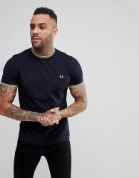 Fred Perry Slim Fit Twin Tipped Ringer T-Shirt In Navy - Navy