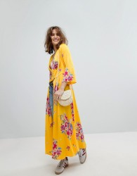 Free People Alexa Floral Duster Jacket In Maxi Length - Yellow