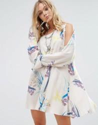 Free People Clear Skies Cold Shoulder Printed Dress - Beige