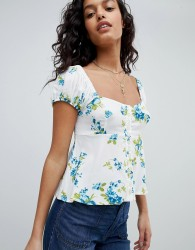 Free People Close To You Printed Top - White