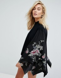 Free People Embroidered Kimono Top - Black