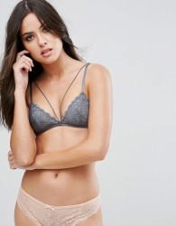 Free People Front Strap Triangle Bra - Grey