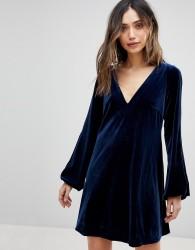 Free People Misha Velvet Dress - Blue