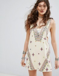 Free People Never Been Embroidered Mini Dress - Multi