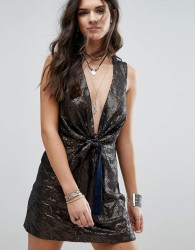 Free People Paris Rock Shiny Party Dress - Navy