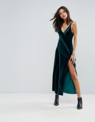 Free People Spliced Velvet High Split Maxi Dress - Green