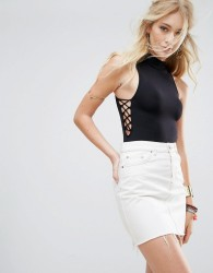 Free People Trying To See You Lace Up Side Bodysuit - Black