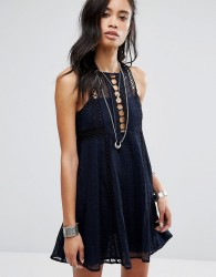 Free People Wherever You Go Mini Dress - Navy
