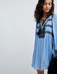 Free People Wind Willow Embroidered Mini Dress - Blue