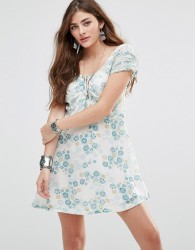 Free People Yours Truly Printed Dress - Cream