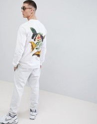 French Montana Jungle Long Sleeve T-Shirt In White With Back Print - White