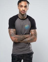 Friend or Faux Monsoon Chest Print Raglan Sleeve T-Shirt - Grey