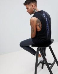 Friend or Faux Shinzoo Back Print Sleeveless T-Shirt Vest - Black