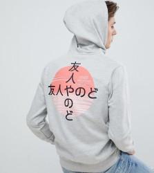 Friend or Faux Tall Kamikaza Back Print Hoodie - Grey