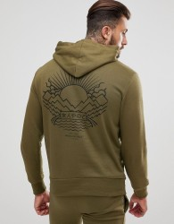 Friend or Faux Tempest Back Print Hoodie - Green