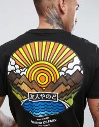 Friend or Faux Wakayoma Back Print T-Shirt - Black