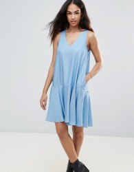 FRNCH Chambray Swing Dress - Blue