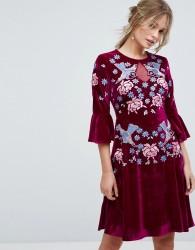 Frock And Frill Allover Premium Embellished Velvet Skater Dress With Peplum Hem - Red