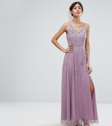 Frock and Frill Cami Maxi Dress with Star Embellishment and Split - Grey