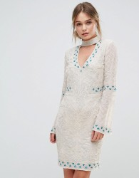 Frock and Frill Choker Detail Embellished Mini Dress - Cream