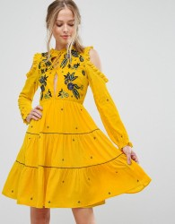 Frock And Frill Cold Shoulder Velvet Smock Dress With Floral Embroidery - Yellow