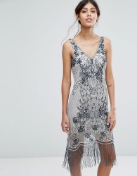 Frock and Frill Embellished Flapper Dress - Grey