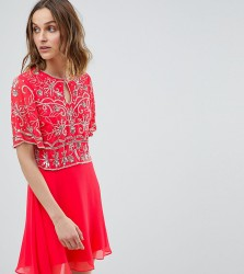 Frock And Frill Embellished Top 2 In 1 Skater Dress - Pink