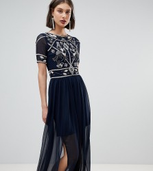 Frock And Frill Embellished Top Maxi Dress - Navy
