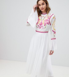 Frock And Frill Embellished Top Pleated Midaxi Dress - White
