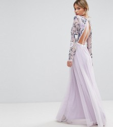 Frock and Frill Embroided Maxi Dress with Tulle Skirt and Open Back - Multi