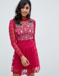 Frock And Frill embroidered lace prom skater dress in berry - Red