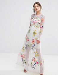 Frock And Frill Embroidered Maxi Dress With Tie Waist - White
