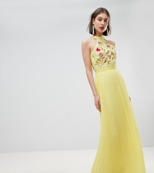 Frock And Frill Embroidered Top Pleated Maxi Dress - Yellow