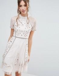 Frock and Frill Floral Embellishment Skater Dress - Pink