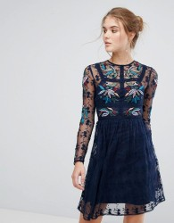 Frock And Frill Floral Embroidered Skater Mini Dress With Lace Trim - Navy