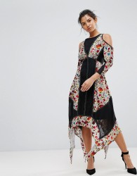 Frock And Frill Floral Printed Velvet Hanky Hem Dress With Cold Shoulder - Multi