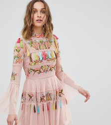 Frock And Frill Folk Embroidered Tassel Skater Dress - Pink